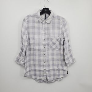 Seven gray and white plaid button down   Size S*